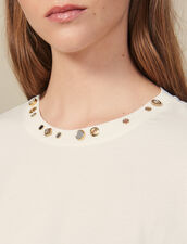 T-shirt with studs on the collar : Tops & Shirts color Ecru