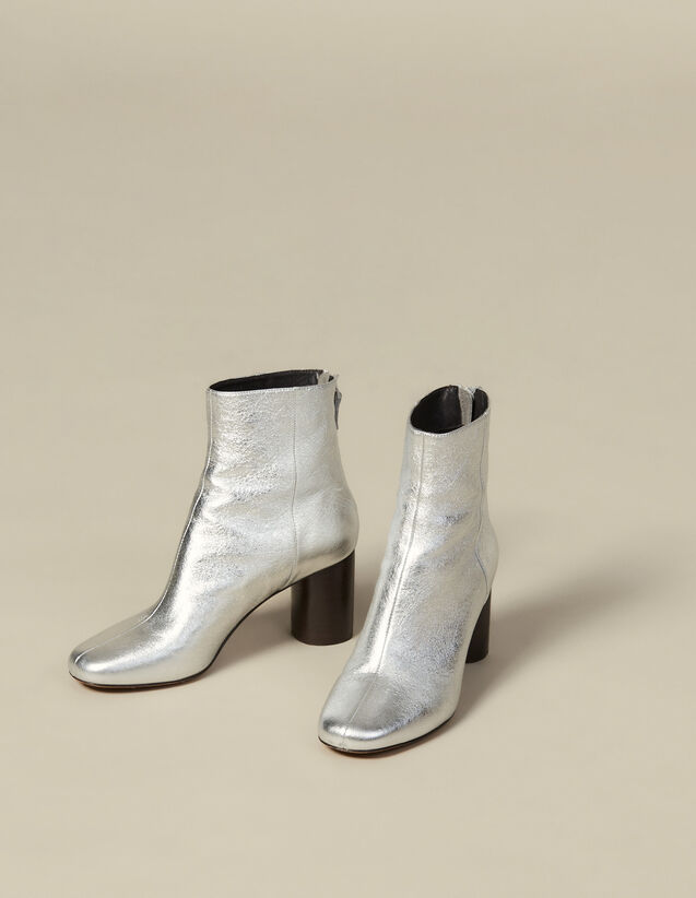 Metallic leather ankle boots : Shoes color Silver