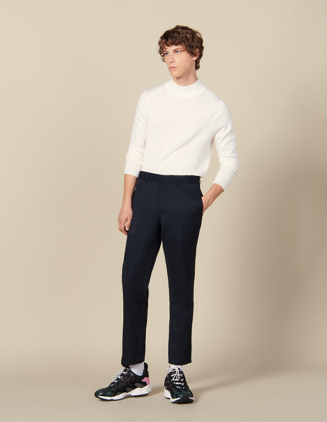 Classic Trousers : Pants color Navy Blue
