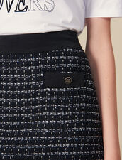 Short A-line tweed skirt : Skirts color Navy Blue