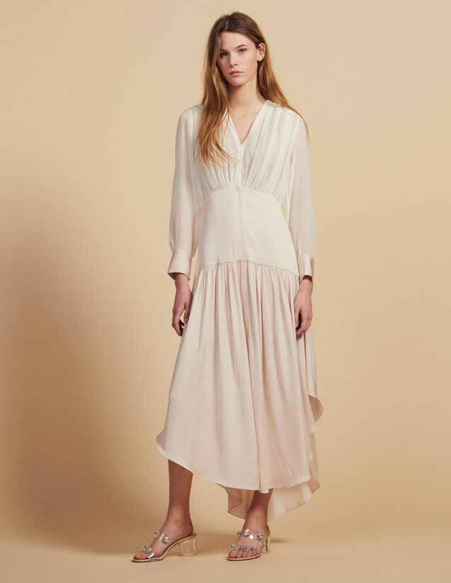 Long Asymmetric Dual Fabric Dress : Dresses color Light pink
