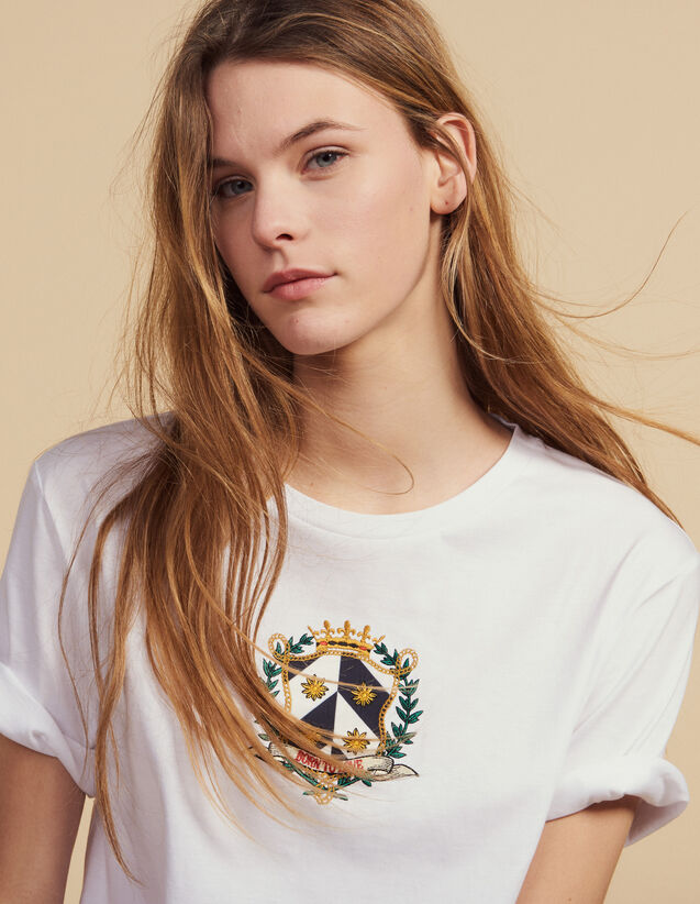 Cropped T-Shirt With Embroidery : Tops & Shirts color white