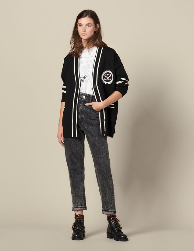 Cardi-Coat With Contrasting Stripes : Sweaters color Black