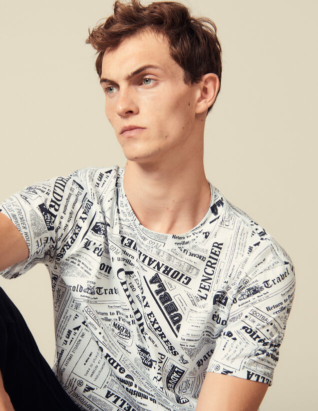 Newspaper Print T-Shirt : T-shirts & Polos color White And Black