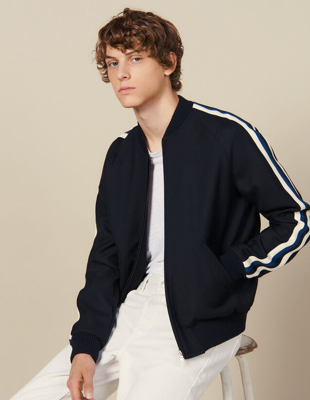 Varsity jacket with striped braid trim : Jackets color Navy Blue