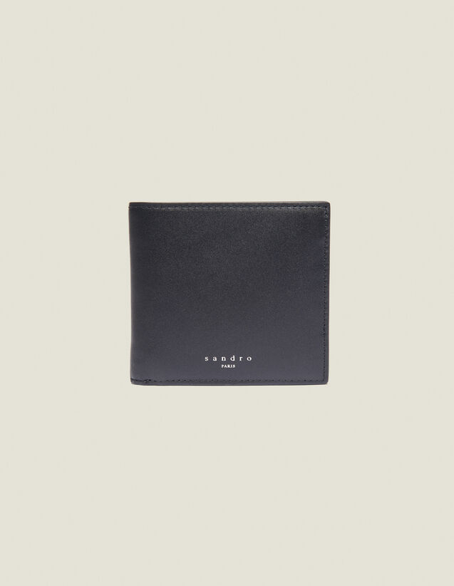 Smooth Leather Wallet With Flap : Leather Goods color Black
