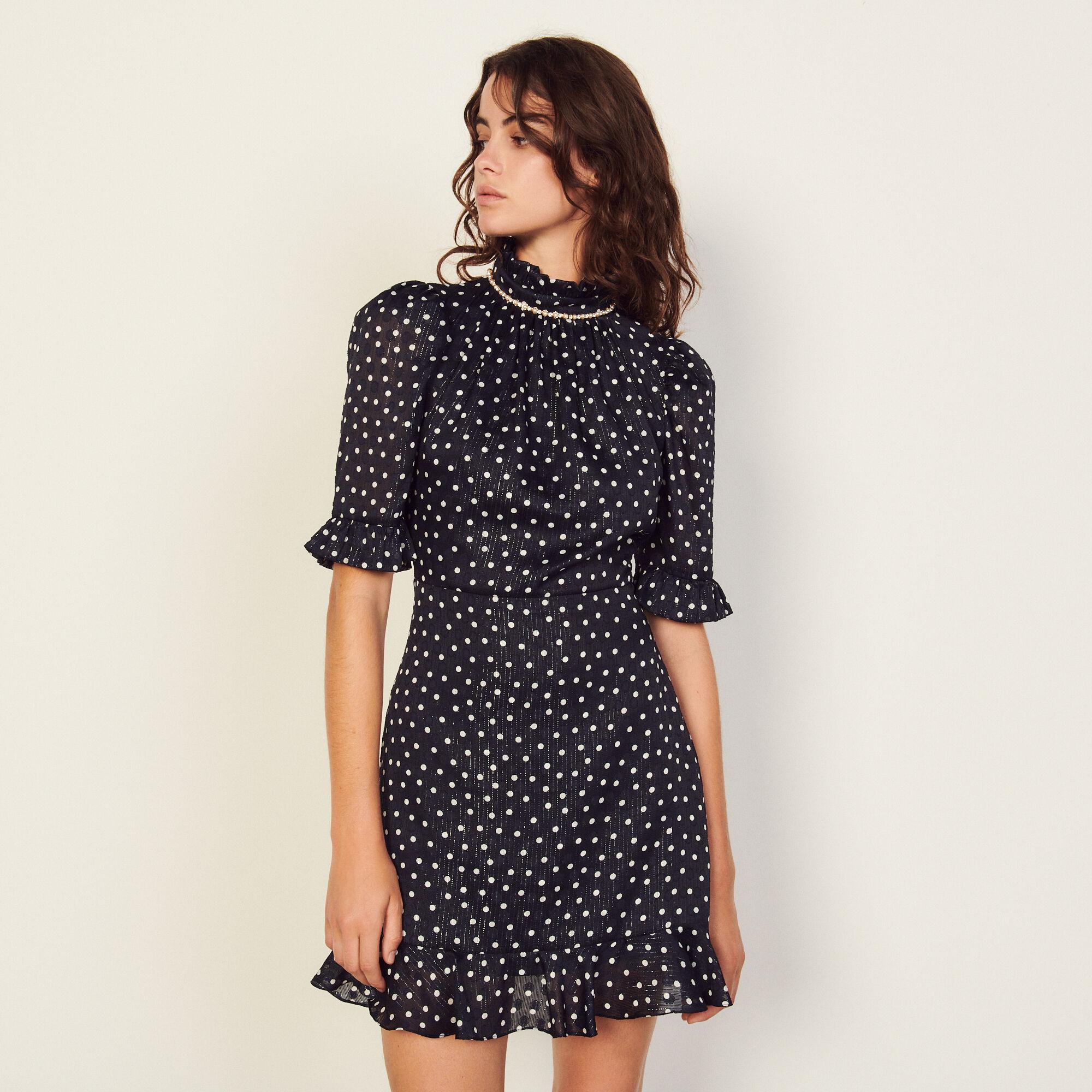Sandro Short polka dot dress with jewels