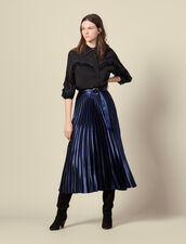 Long satin skirt with sunray pleating : Skirts color Navy Blue