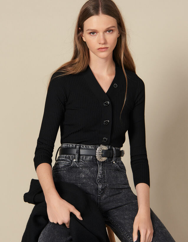 Ribbed Knit Buttoned Cardigan : Sweaters color Black