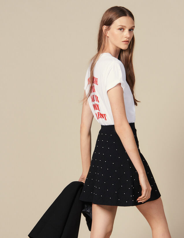 Short Knit Skirt : Skirts color Black