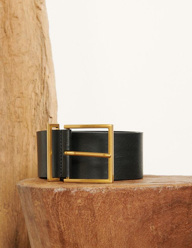 Wide leather belt : Spring Pre-Collection color Black
