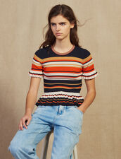 Striped Knit Top : Sweaters color Terracotta
