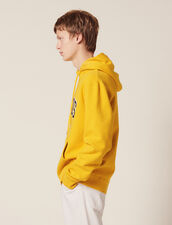 Hoodie With Patch Lettering : Sweaters color Yellow