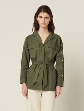 Belted Jacket With Press Studs : Coats & Jackets color Olive Green