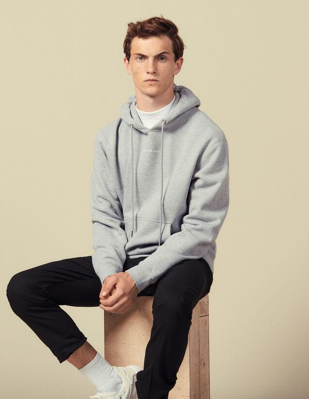 Hoodie Sweatshirt With Logo Embroidery : Sweatshirts color Mocked Grey