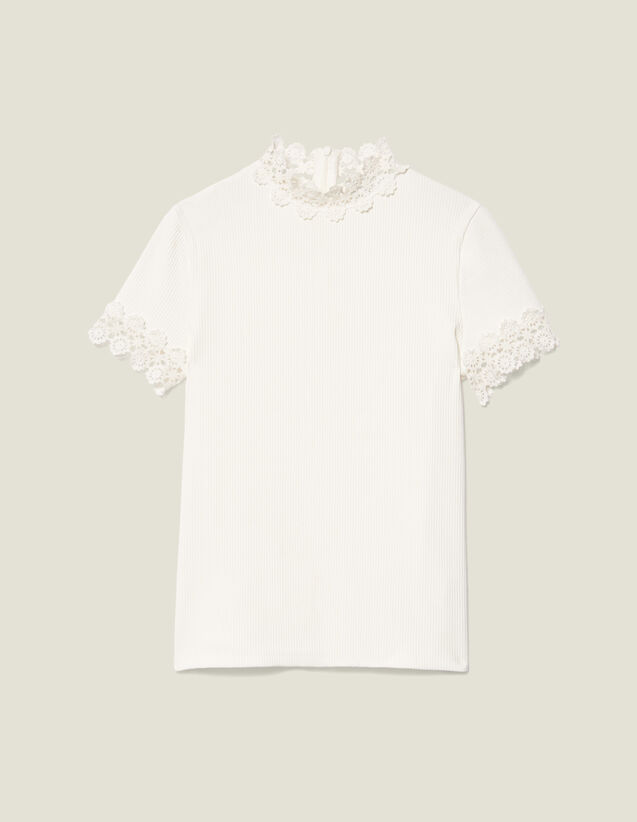 High-Neck T-Shirt Edged With Guipure : Tops & Shirts color Ecru