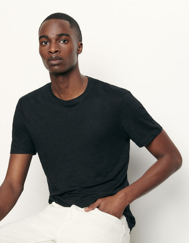Linen T-shirt : T-shirts & Polos color Black