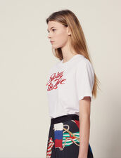 T-Shirt With Embroidered Lettering : Tops & Shirts color white