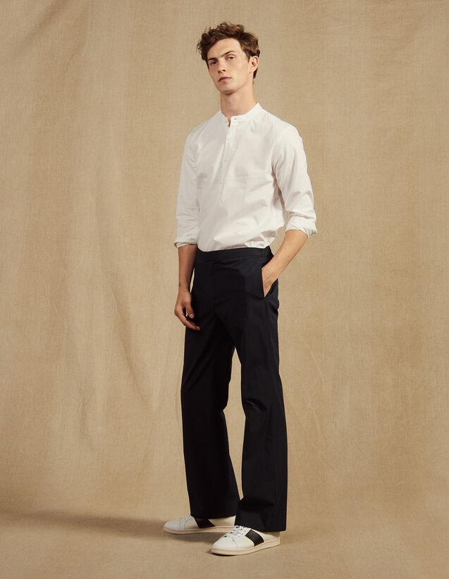 Cotton Pants With Elasticated Waist : Pants & Jeans color Navy Blue