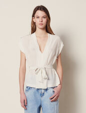 Silk V-Neck Top : Tops & Shirts color Ecru