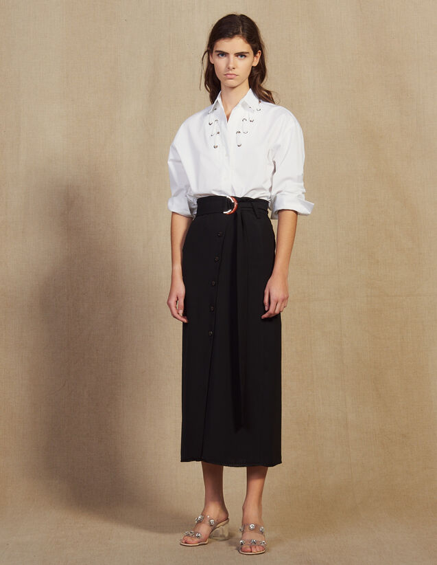 Long Wrapover Skirt : Skirts color Black