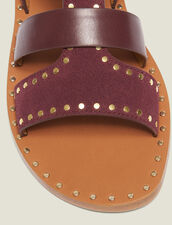Flat Sandals With Scarf Tie Fastening : Shoes color Bordeaux