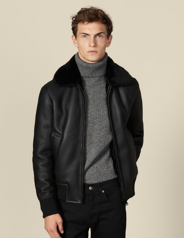 Shearling jacket : Jackets color Black