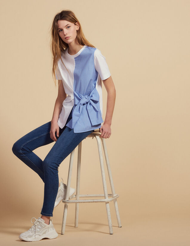 Dual Fabric T-Shirt With Tie Fastening : Tops & Shirts color Ecru