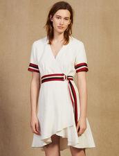 Wraparound Dress With Ribbed Edging : Dresses color Ecru