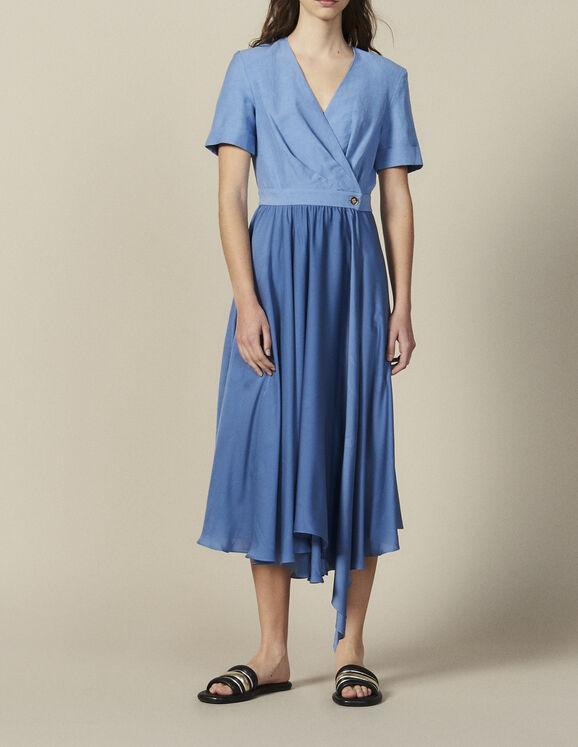 Mixed Material Wraparound Dress : Dresses color Blue
