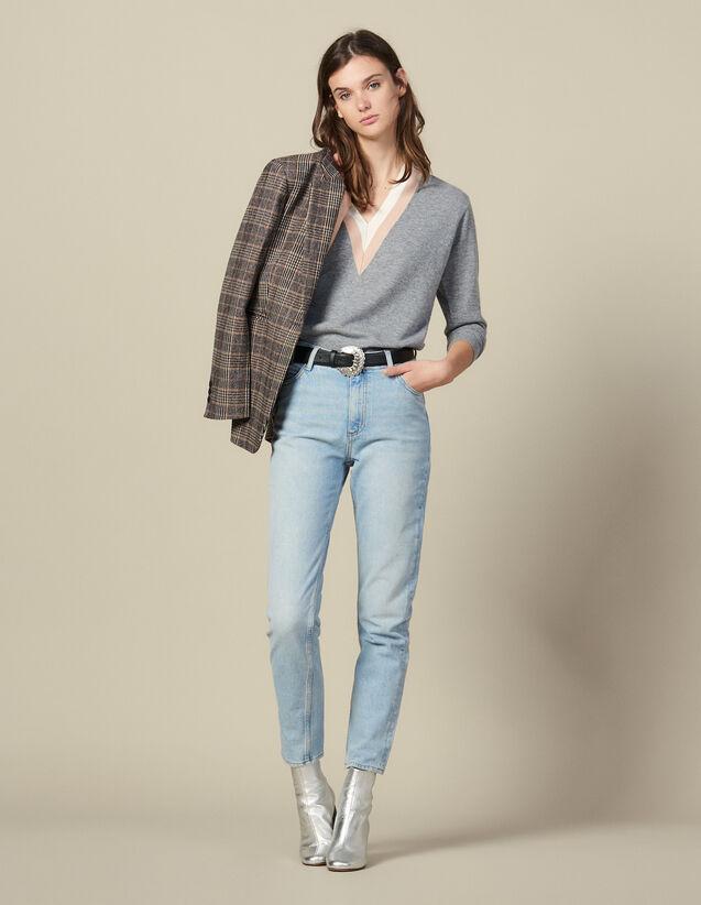 High-Waisted Washed Jeans : Jeans color Blue Vintage - Denim