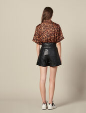 Leather Shorts With Quilted Waist : Pants & Shorts color Black