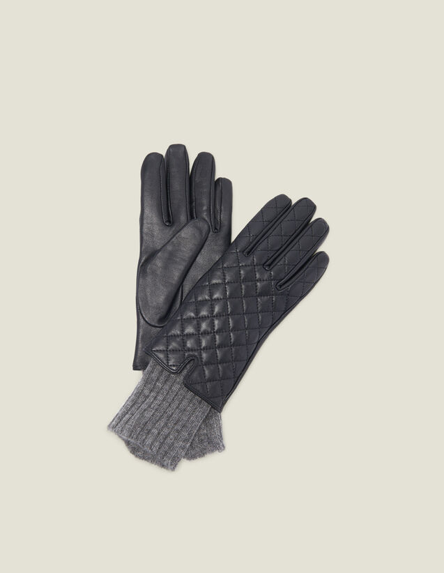 Quilted Leather Gloves : Other Accessories color Black