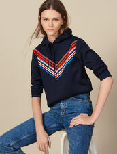 Sweatshirt With Striped Trim : Sweaters & Cardigans color Navy Blue