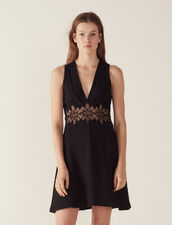 Short Dress With Lace Insert : Dresses color Black