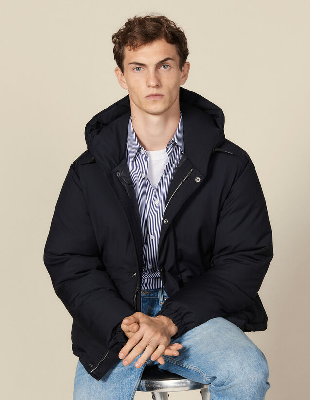 Short padded jacket with hood : Coats color Navy Blue
