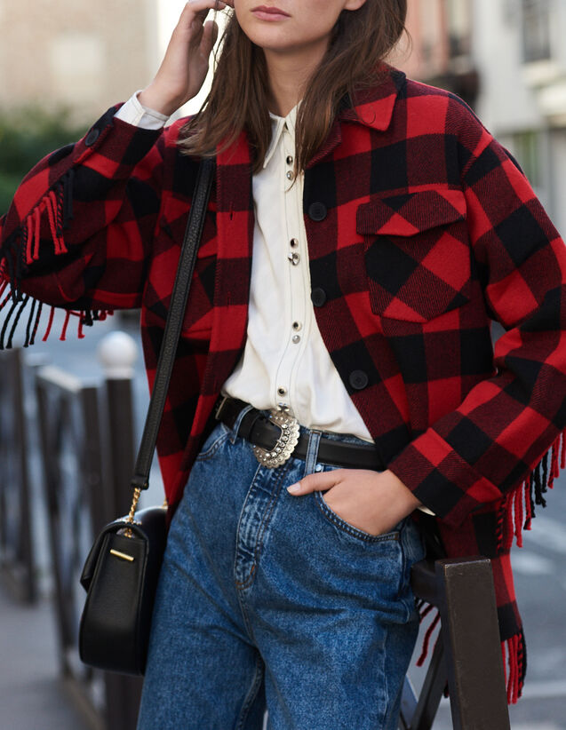 Oversized shirt jacket : Coats color Red/Black