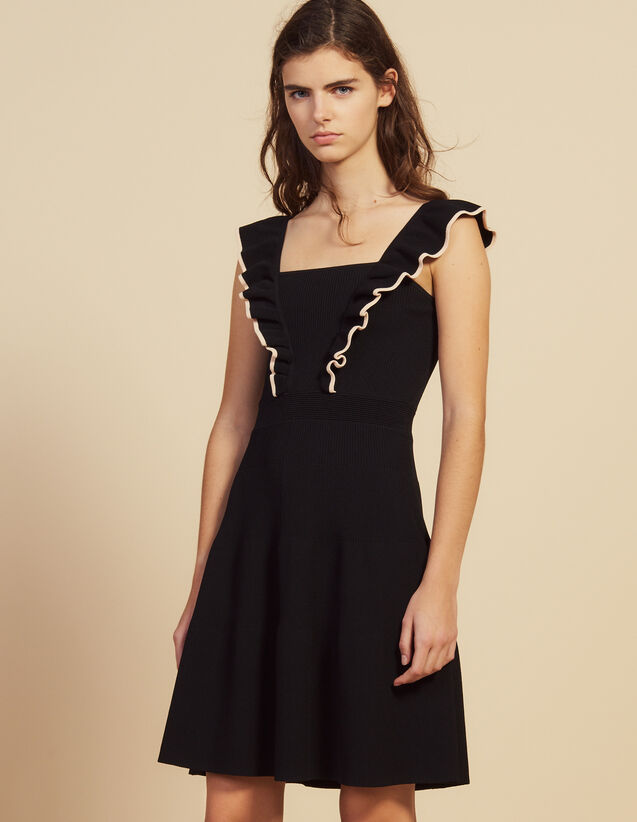 Short Dress With Frills Around The Arms : Dresses color Black