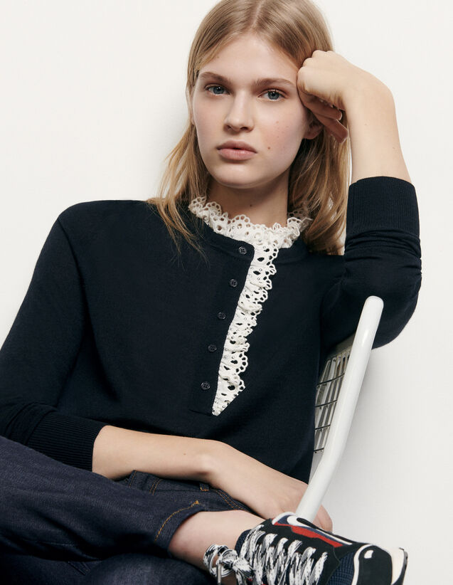 Sweater with broderie anglaise at collar : Spring Pre-Collection color Navy Blue