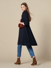 Trench coat with pleated inset : Spring Pre-Collection color Navy Blue
