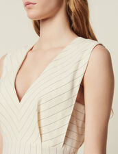 Midi-Length Pinstripe Dress : 50% Off color white