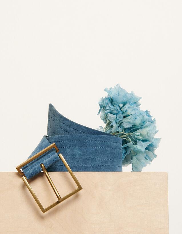 Wide topstitched belt : Spring Pre-Collection color Bleu Denim