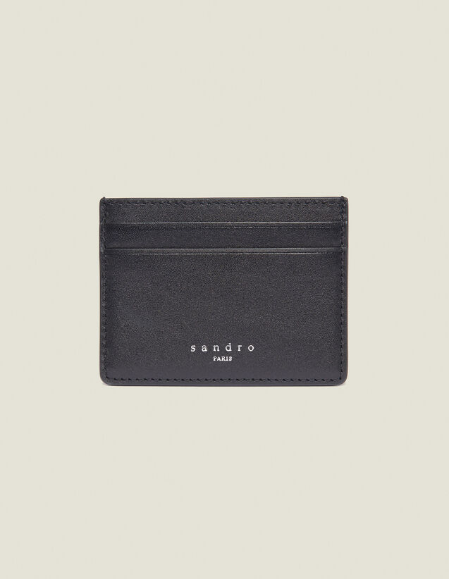 Smooth Leather Card Holder : Leather Goods color Black