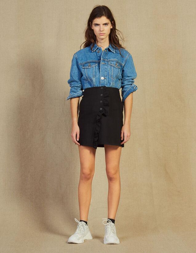 Short Wraparound Skirt With Ruffle : Skirts color Black