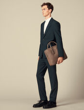 Grained Leather Briefcase : Bags color Taupe