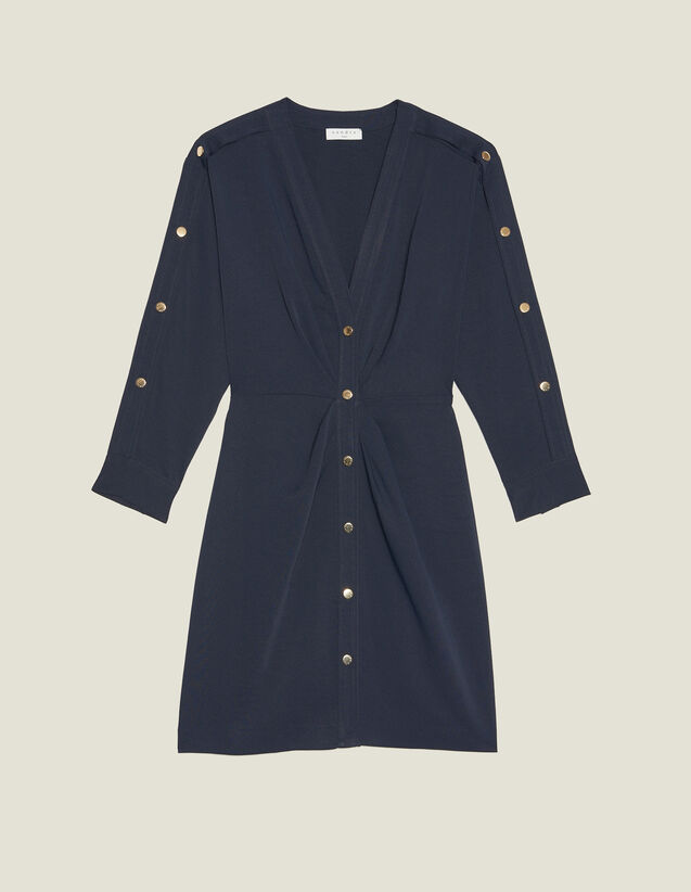 Short Dress With Gold-Tone Press Studs : Dresses color Navy Blue