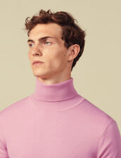Roll neck wool sweater : Sweaters color Pink