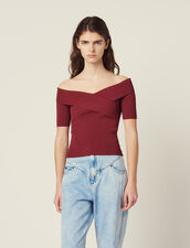 Knit Top With Crossover Neckline : Sweaters color white