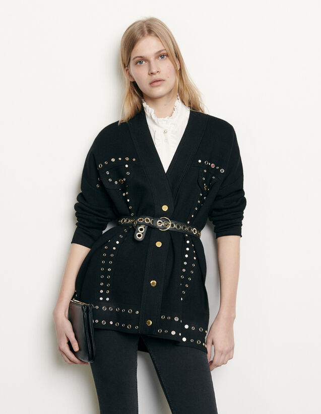Cardigan trimmed with studs : Spring Pre-Collection color Black