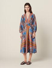 Long Printed Silk Dress : Dresses color Multi-Color